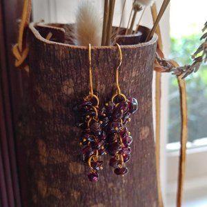 Garnet grape dangle pierced earrings